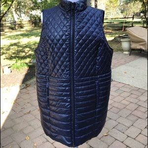 Talbots blue long quilted puffer A-line vest